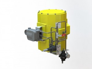 Picture of Elomatic actuator fitted with Pneuton controls